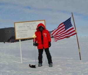 Carlos Pobes, en el Polo Sur geográfico